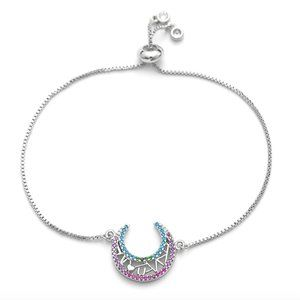 I Love You To The Moon Heart CZ Silver Bracelet